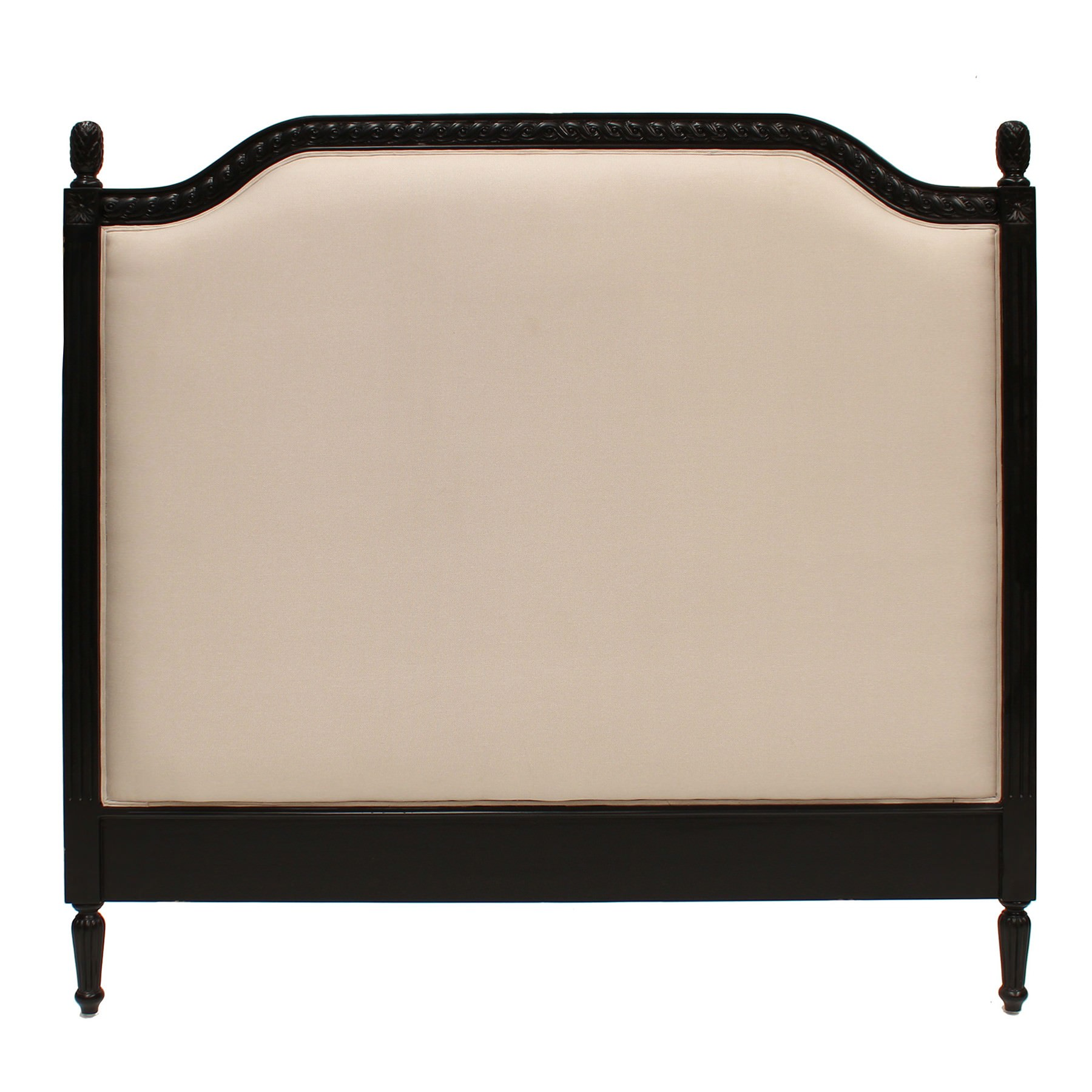 Lapalisse Hand Crafted Upholstered  Mahogany Timber Bed Headboard, Queen, Black
