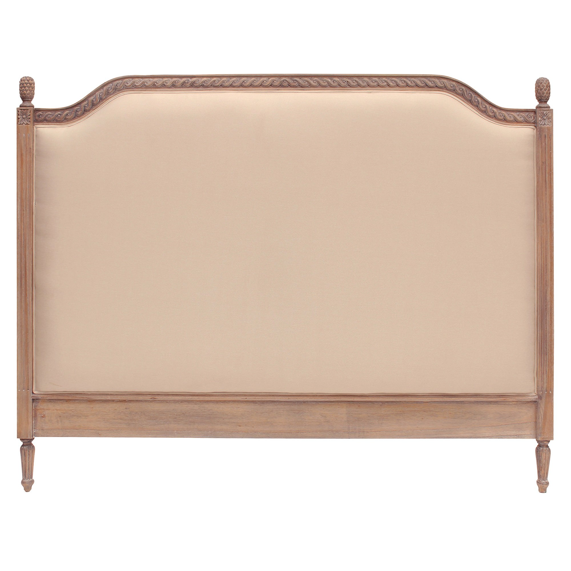 Lapalisse Hand Crafted Upholstered  Mahogany Timber Bed Headboard, Queen, Weathered Oak