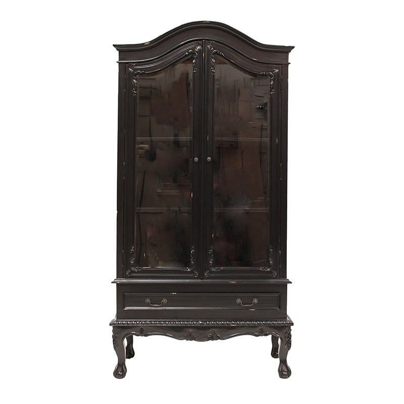 Arfeuilles Hand Crafted Mahogany 2 Door Showcase - Distressed Black