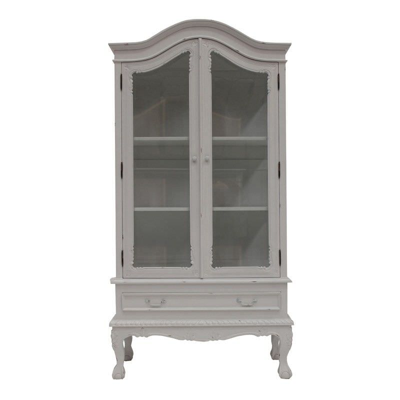 Arfeuilles Hand Crafted Mahogany 2 Door Showcase - Distressed White