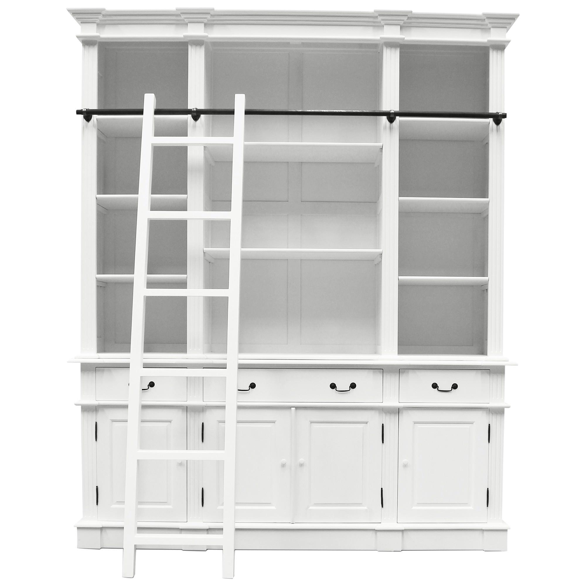 Souvigny Hand Crafted Mahogany Bookcase, White