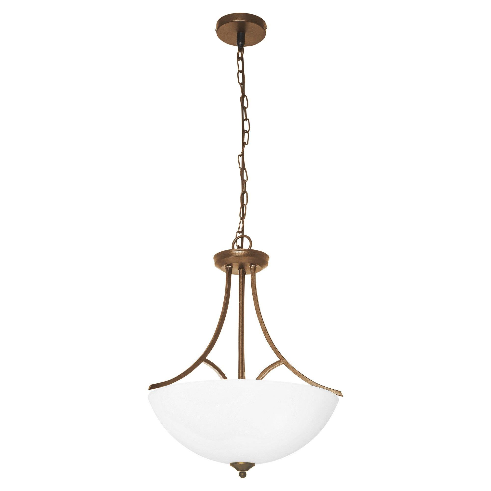 Atlanta Metal & Glass Convertible Batten Fix / Pendant Light, Brass