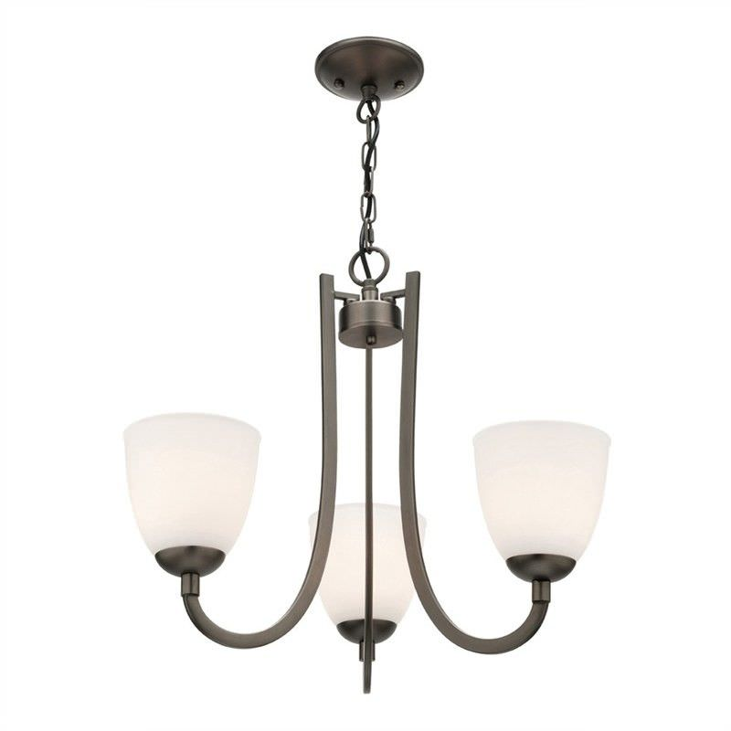 Audrey Glass Shade Pendant / Chandelier, 3 Arm