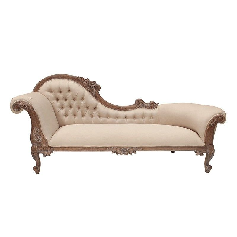 Paris Hand Crafted Solid Mahogany Left Hand Facing Chaise, Weathered Oak