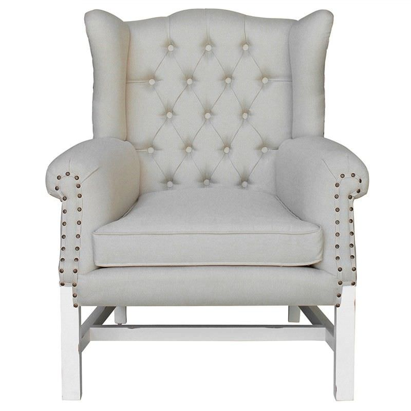 Souillac Hand Crafted Mahogany Wing Back Chair, White