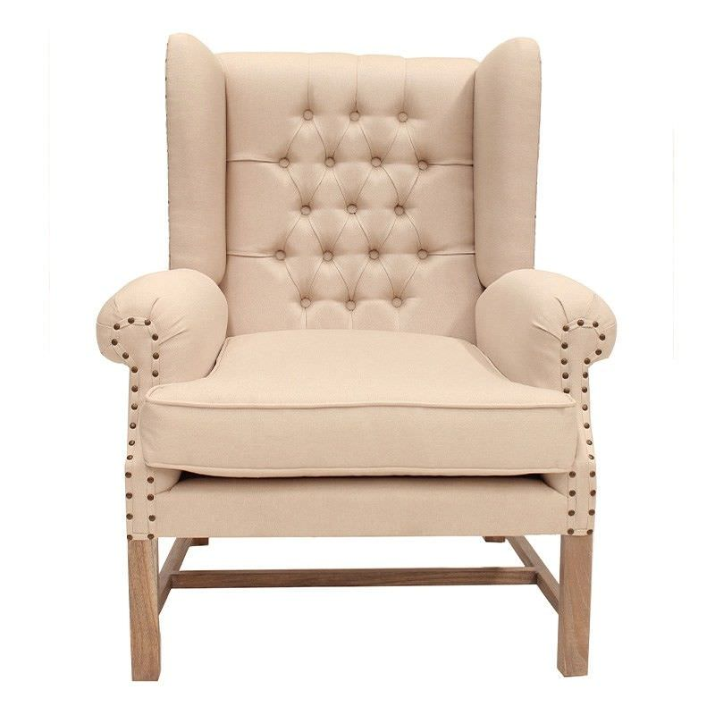 Souillac Hand Crafted Mahogany Wing Chair - Weathered Oak