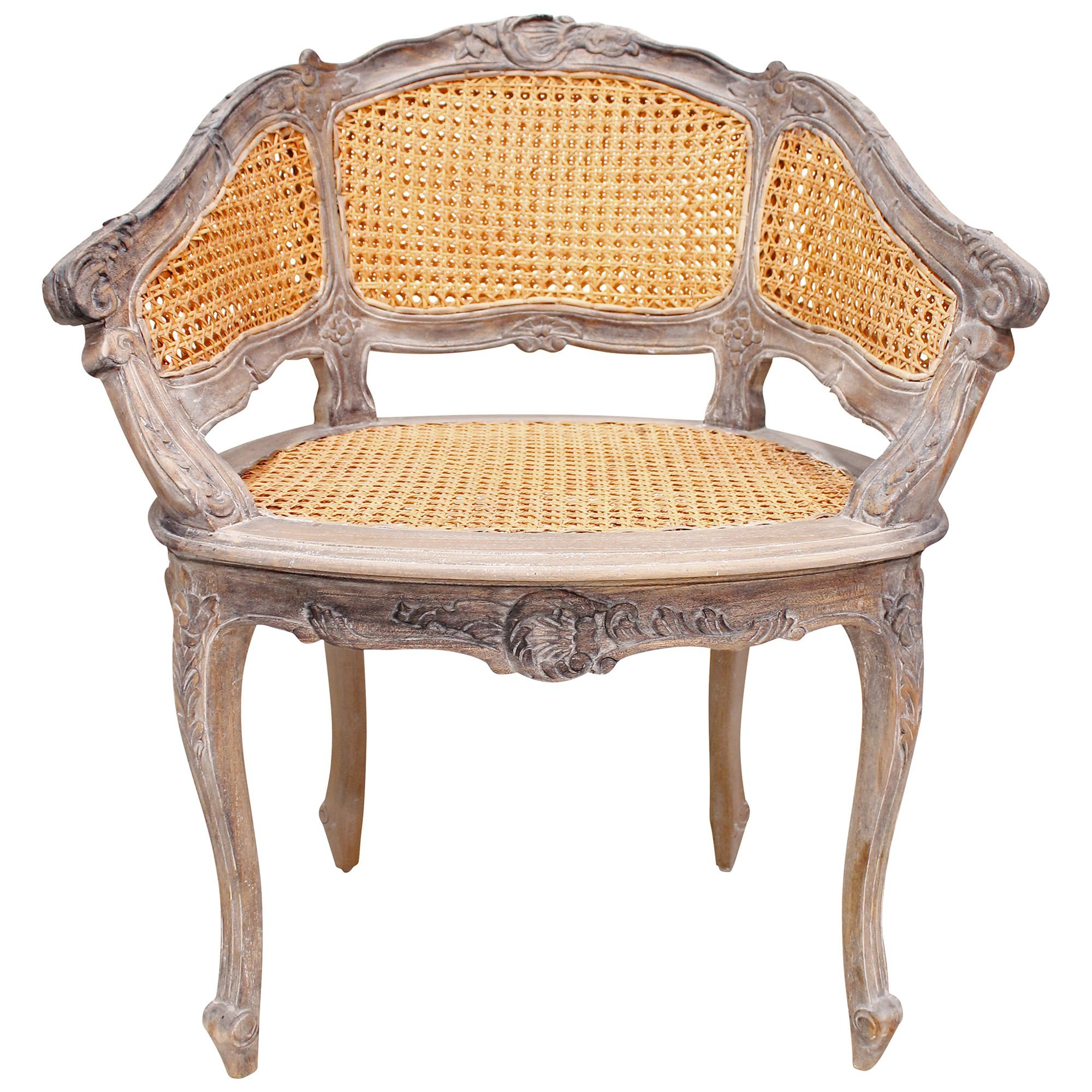 Vaugneray Hand Crafted Mahogany Bergere Chair, Weathered Oak