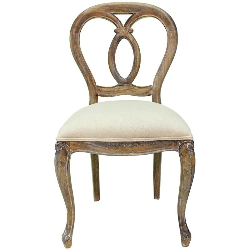 Chamond Hand Crafted Mahogany Oval Back Dining Chair - Weathered Oak