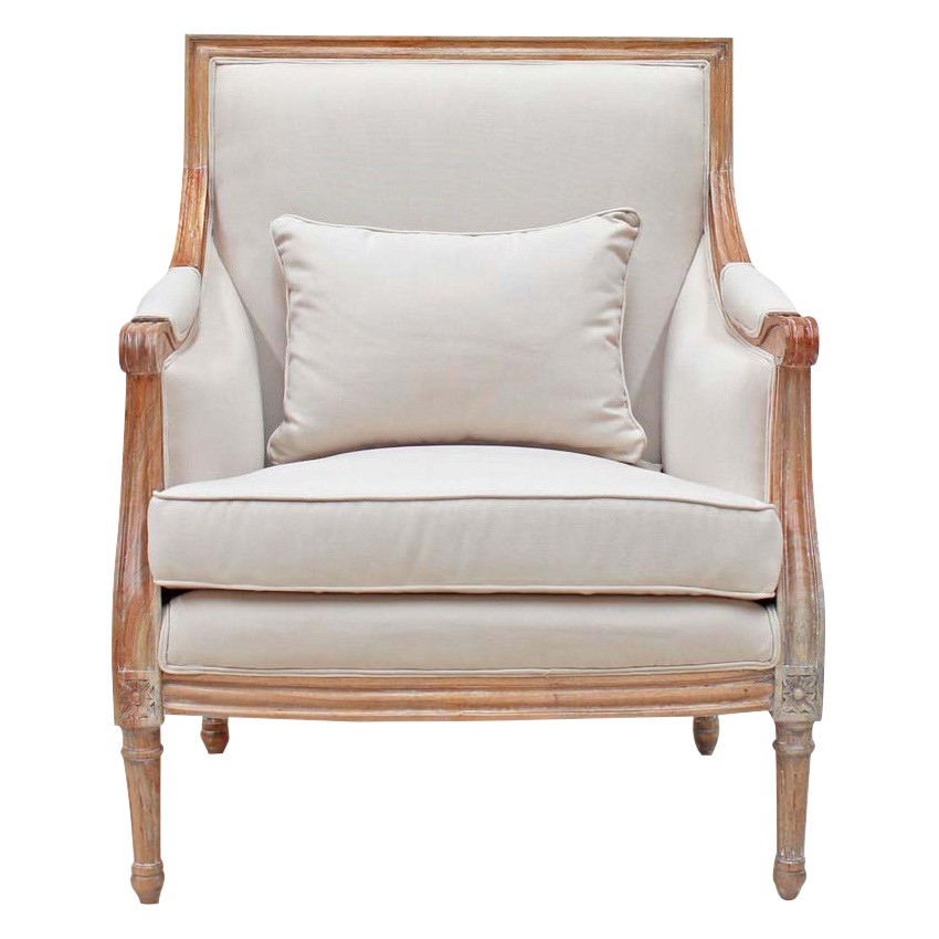 Lapalisse Handcrafted Fabric & Mindi Wood Armchair, Weathered Oak