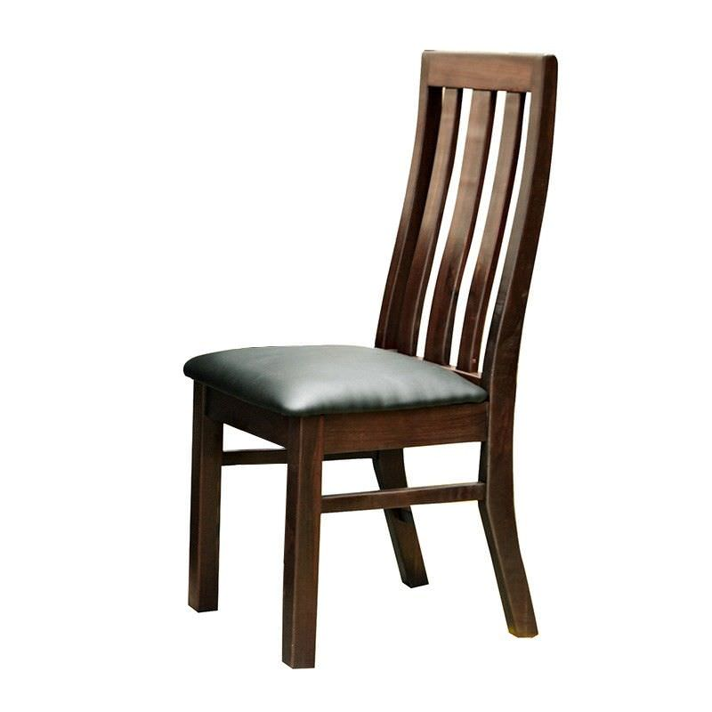 Scott New Zealand Pine Timber Dining Chair with PU Seat - Wedge Stain