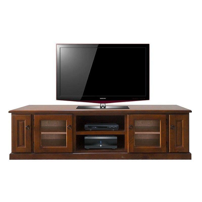 Alford Solid Pine Timber 4 Door Lowline TV Unit, 190cm, Black Wood Finish