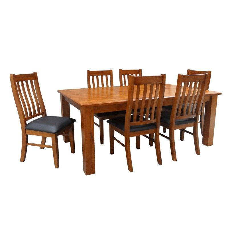 Alford Solid Pine 9 Pc Dining Set in Blackwood