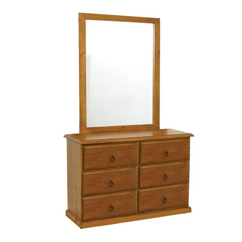 Alford Pine Timber 6 Drawer Dresser with Mirror