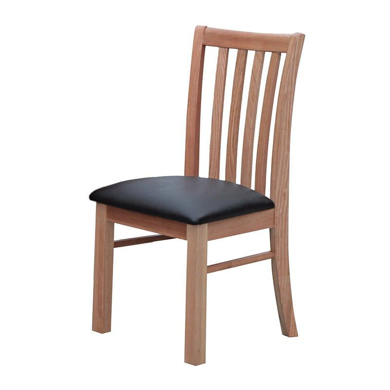 Alma Solid Tasmanian Oak Timber Dining Chair with PU Seat - Natural