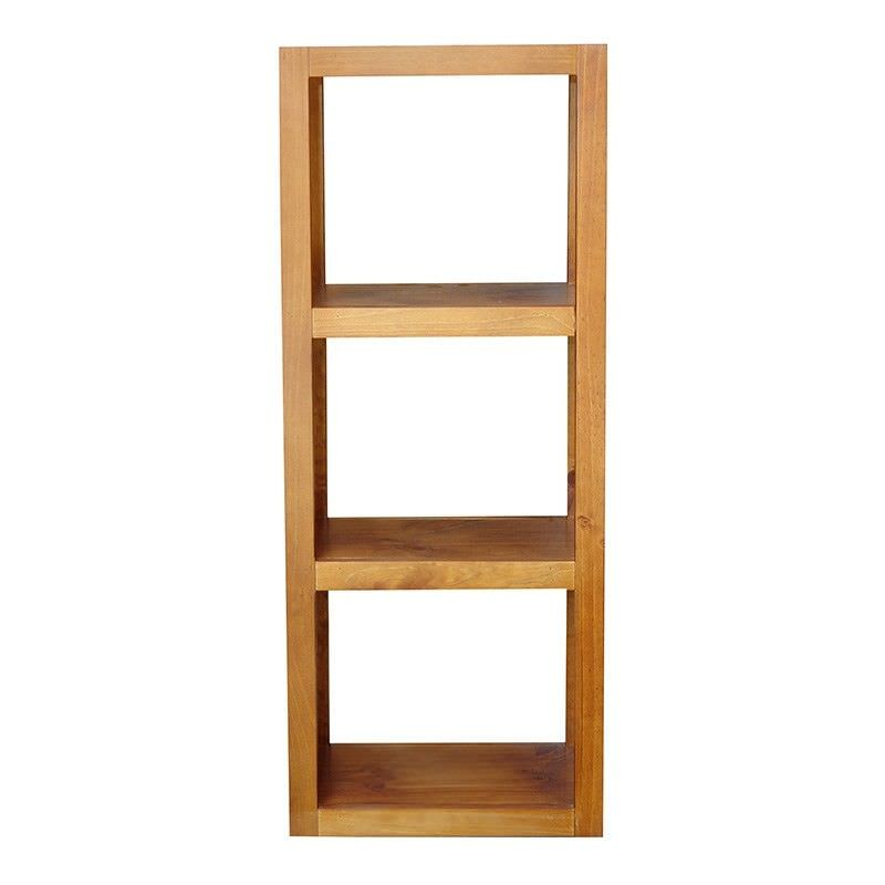 Elmont Solid Pine 3 Cube Display Shelf, English Oak