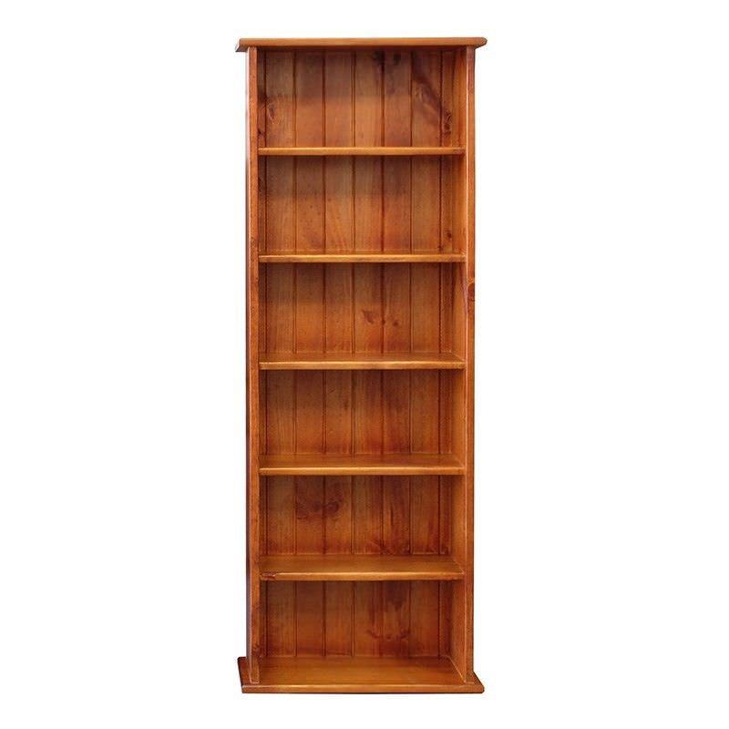 Izola Solid Pine Slim Bookcase, English Oak