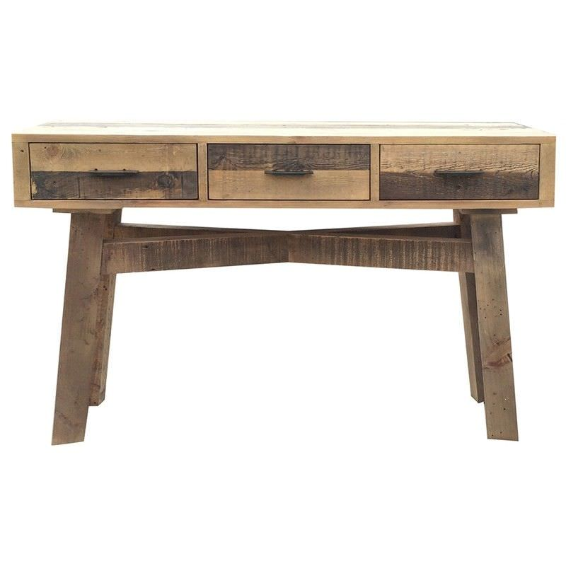 Wheaton Solid Recycled Pine Timber 3 Drawer Sofa Table