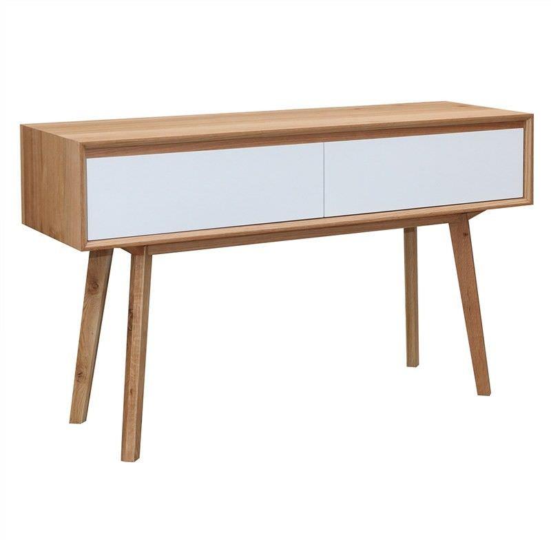 Sibil Solid American Oak Timber 2 Drawer 130cm Sofa Table