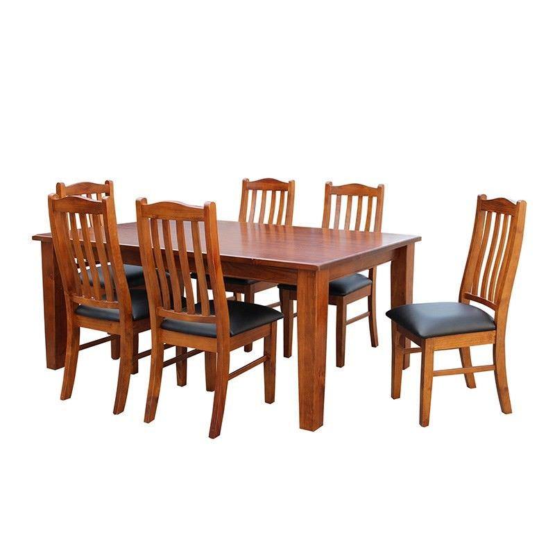Brighton Solid Pine 7 Pc Dining  Set in Chestnut - 180cm
