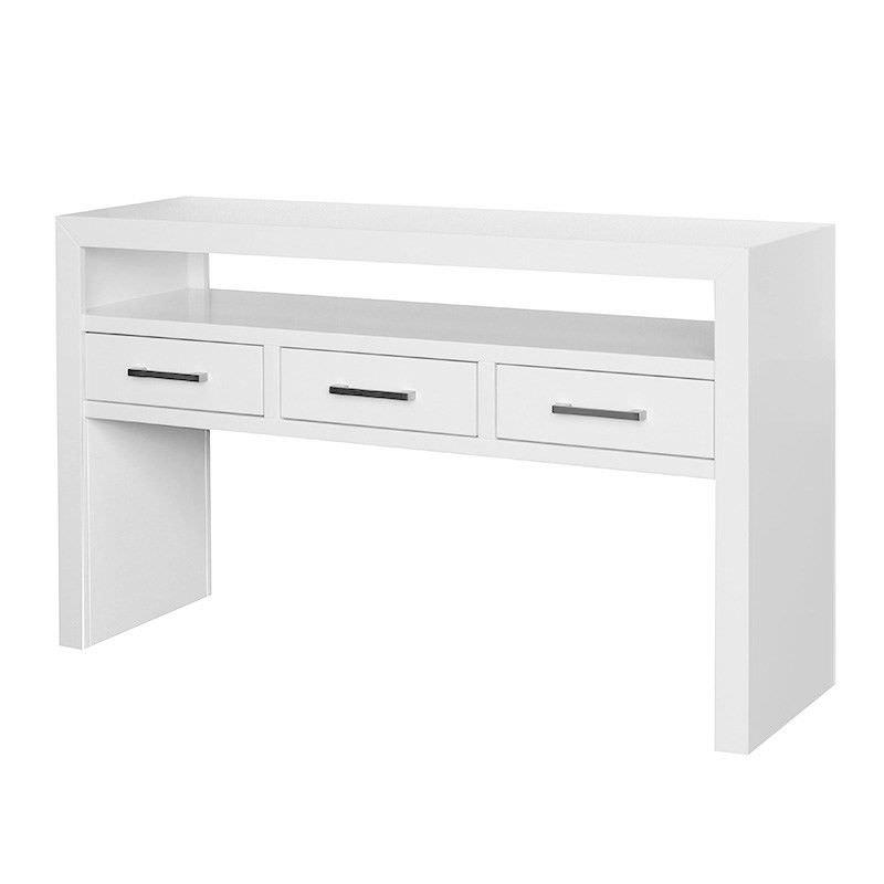Cooper High Gloss 3 Drawer Sofa Table - White