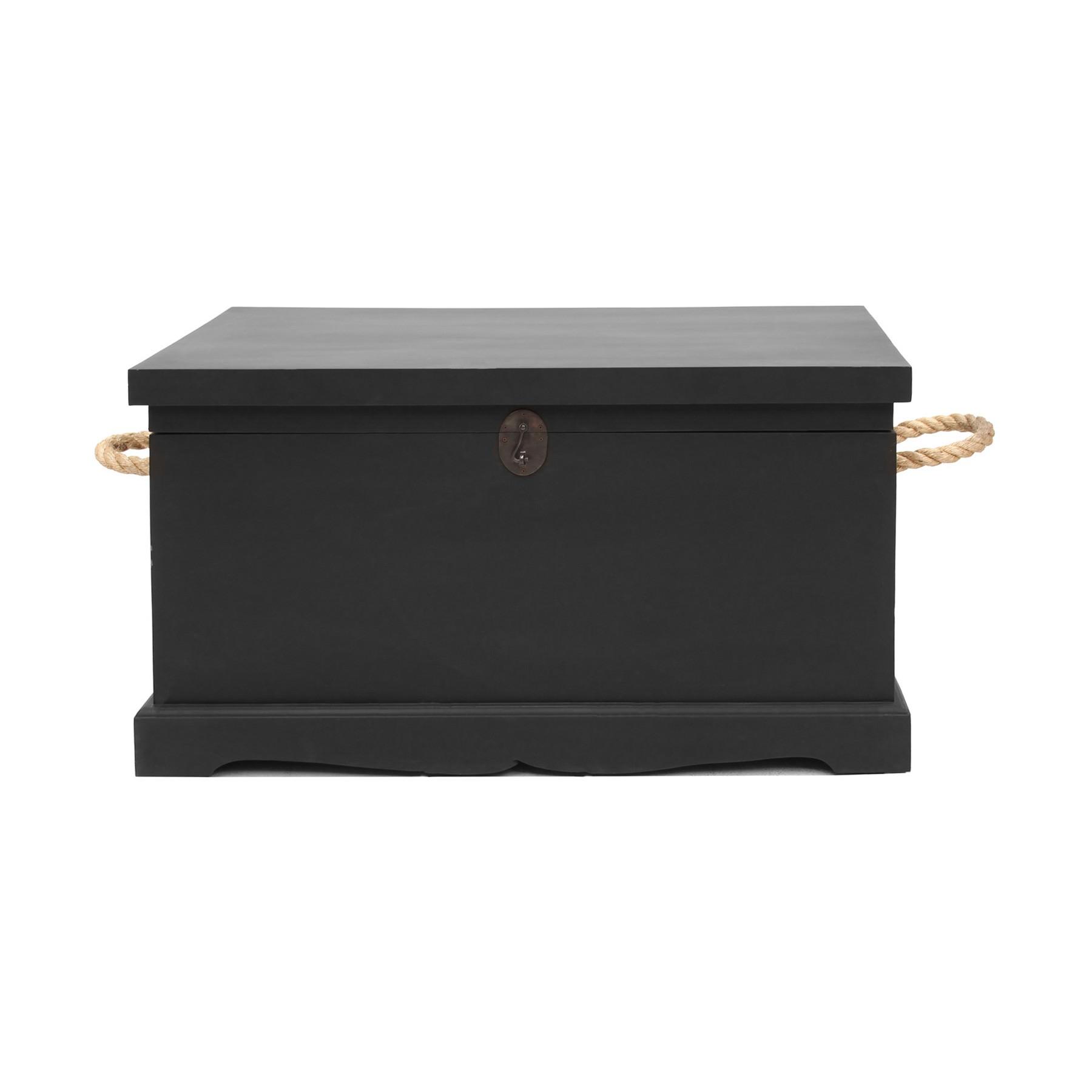 Larajasse Large Hand Crafted Mahogany Blanket Box, Black