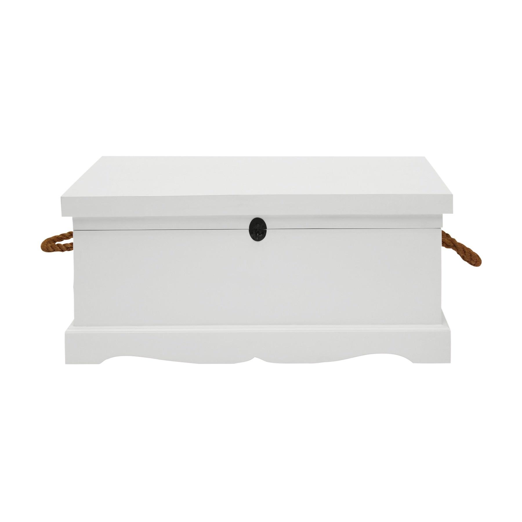 Larajasse Medium Hand Crafted Mahogany Blanket Box, White