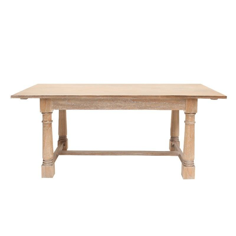 Privas Hand Crafted Mahogany Timber 190cm Dining Table - Weathered Oak