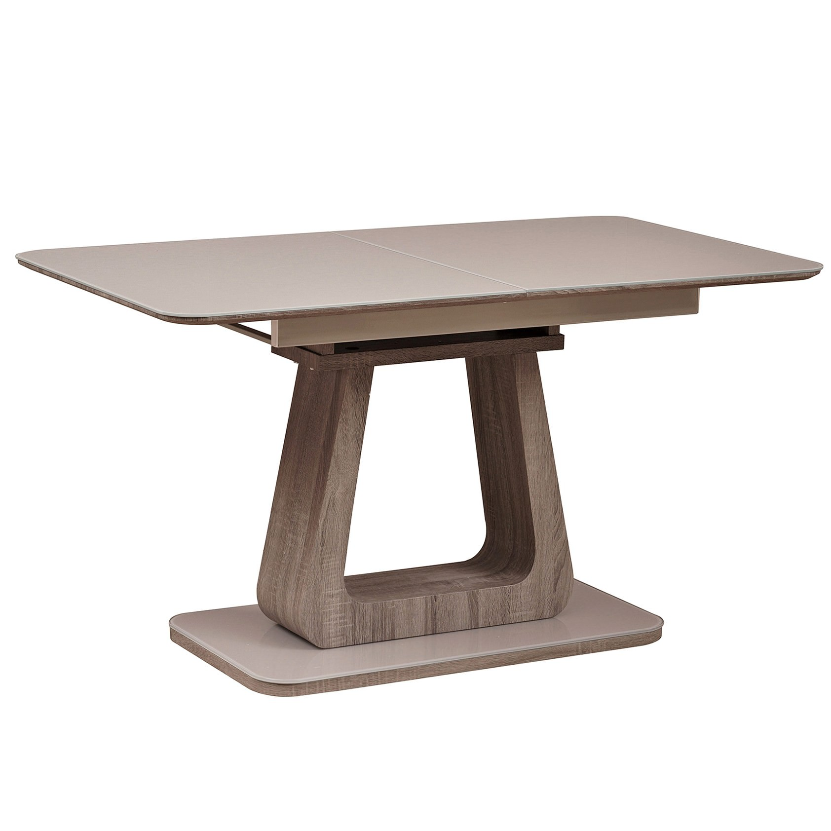 Kaja Tempered Glass Topped Extension Dining Table, 140-180cm, Cappuccino / Oak