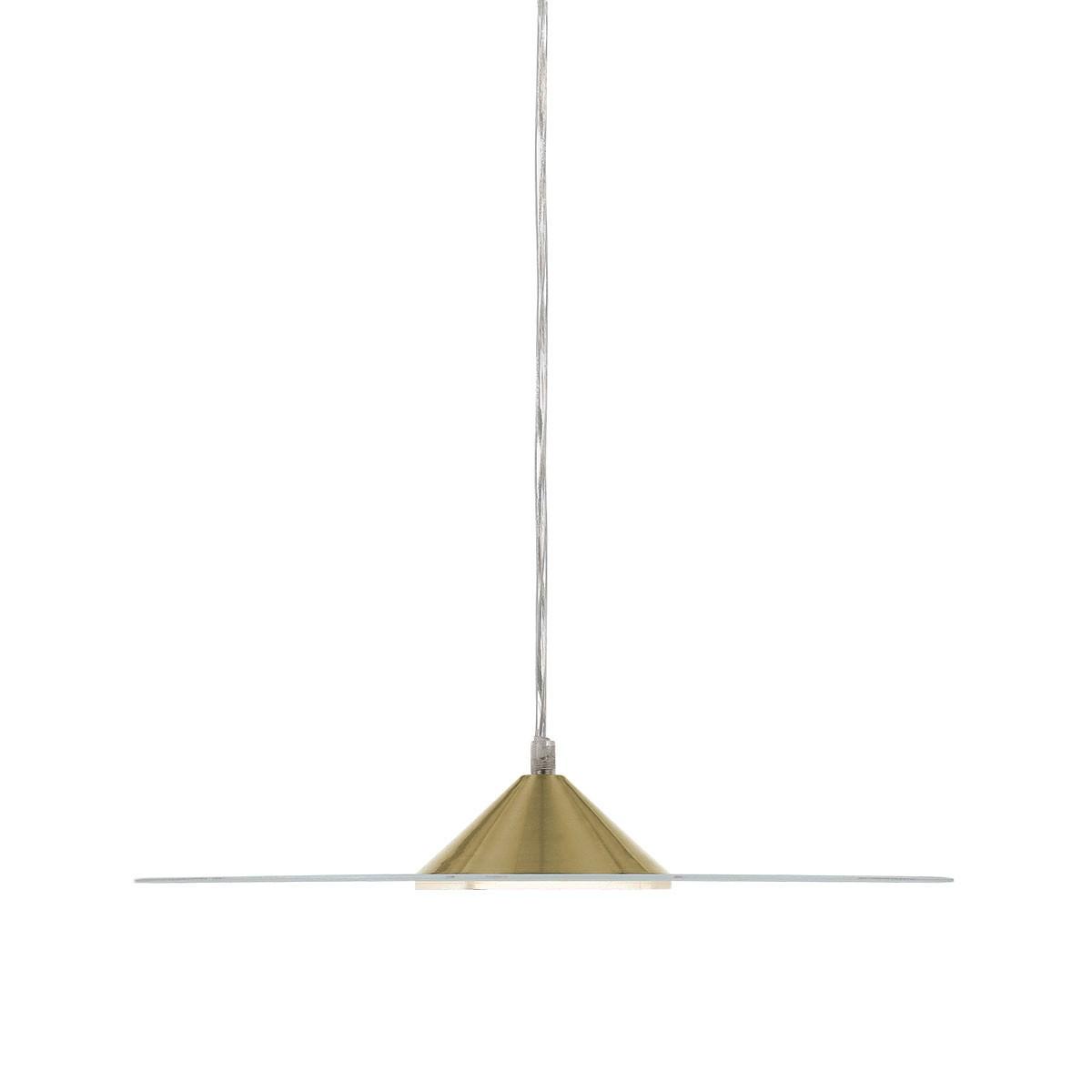 Merlin Metal & Glass LED Pendant Light, Large, Brass