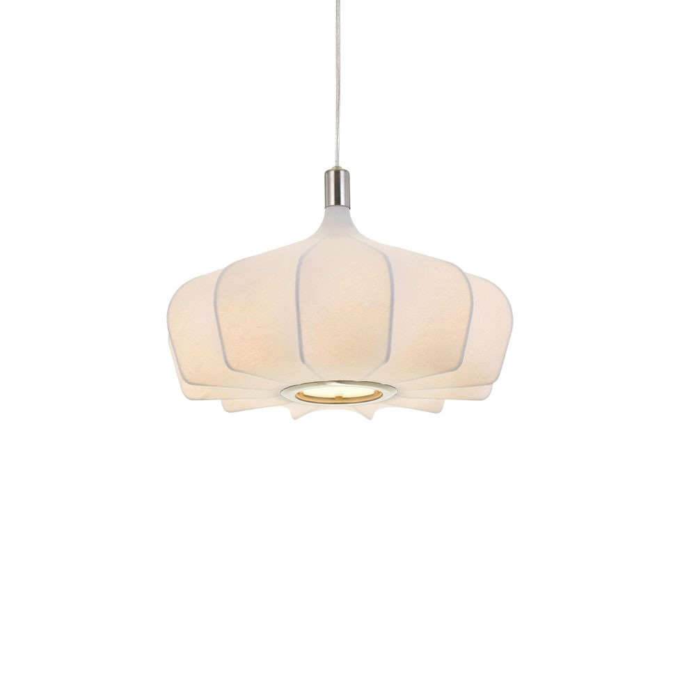 Mersh Stretched Fabric Pendant Light, Small, White