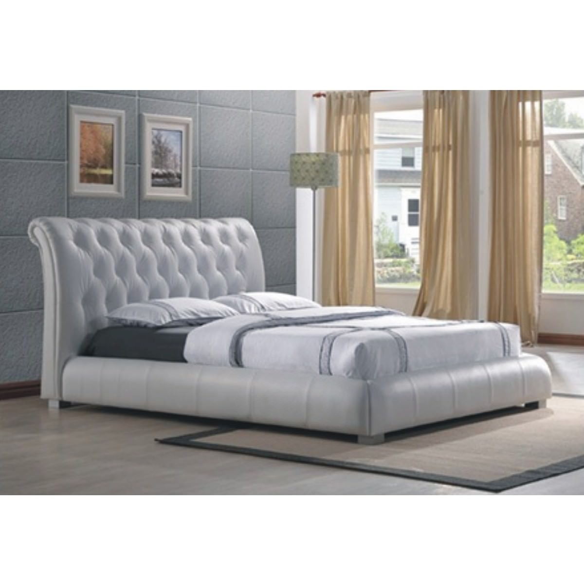 Messini Leather Bed, Queen, White