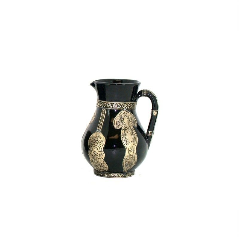 Moroccan Mahar Glazed Terracotta Jug with Traditional metal embossing - 17x17x22cm