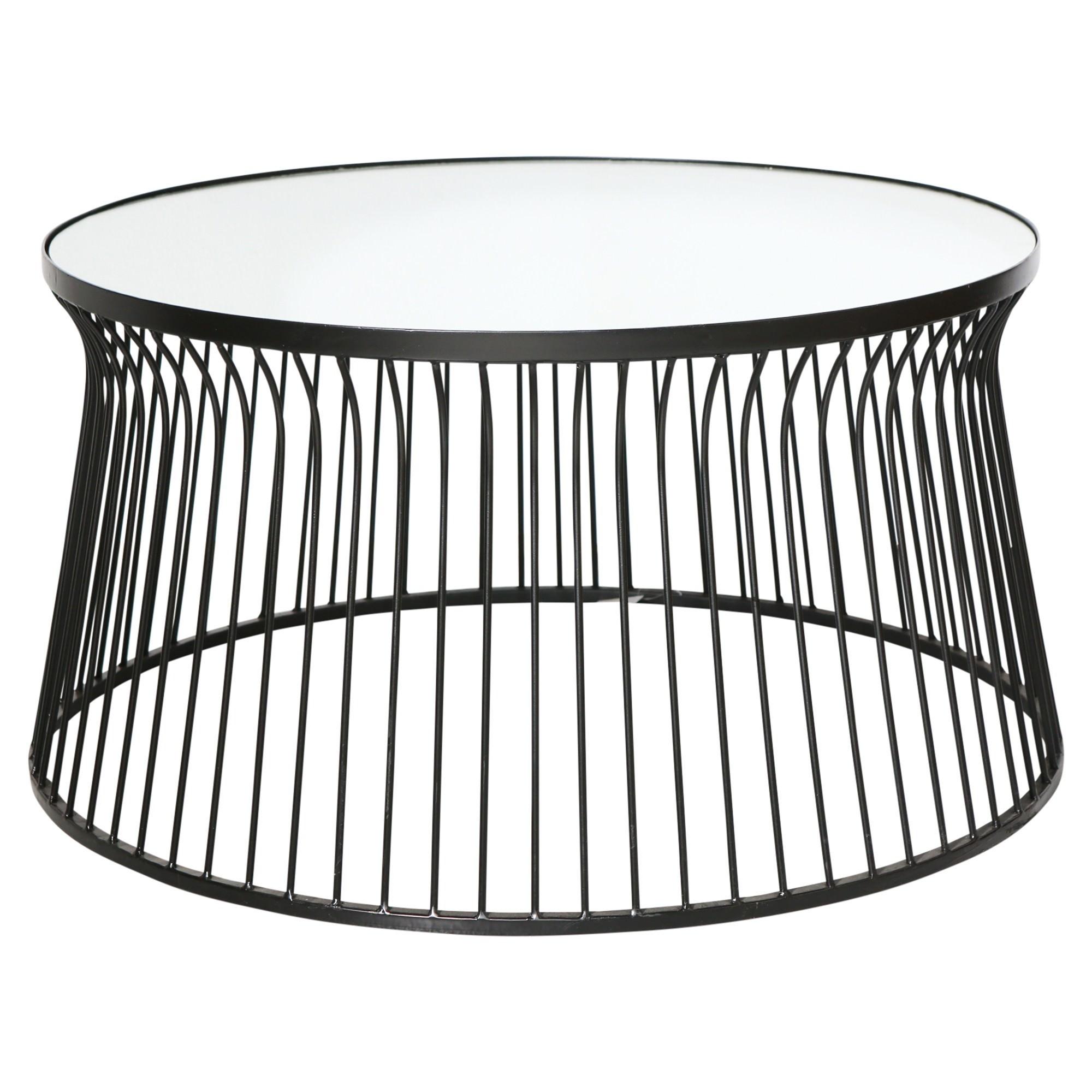 - Lexa Mirror Topped Iron Round Coffee Table, 96cm, Black