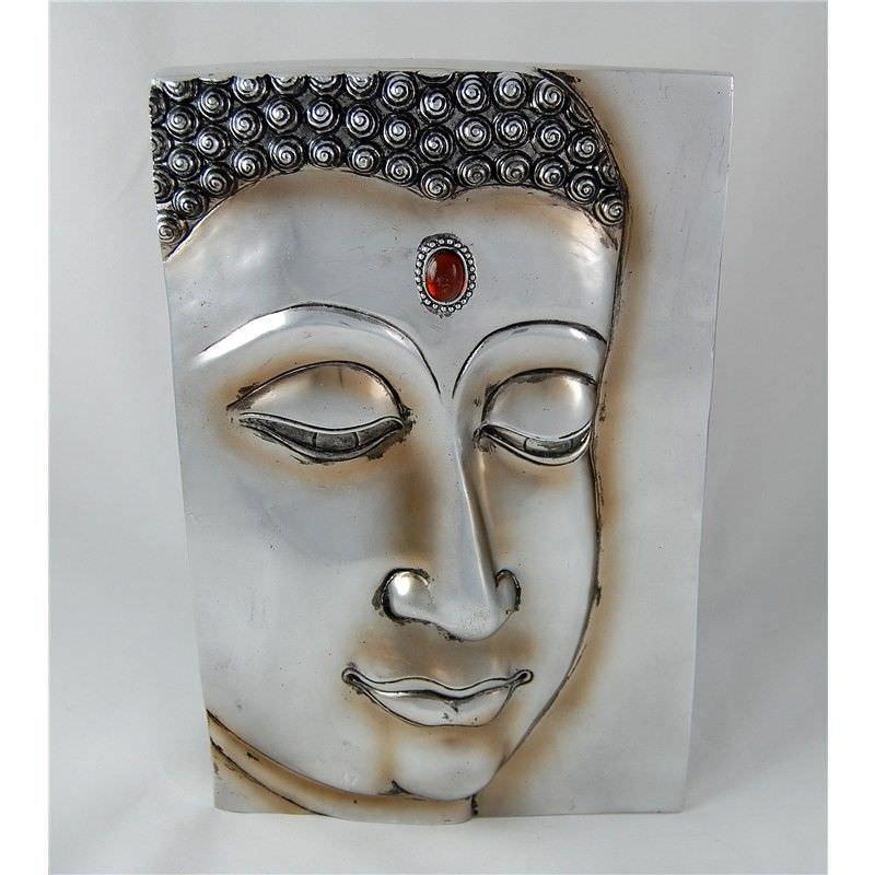 33cm Silver Buddha with Plaque No. 1