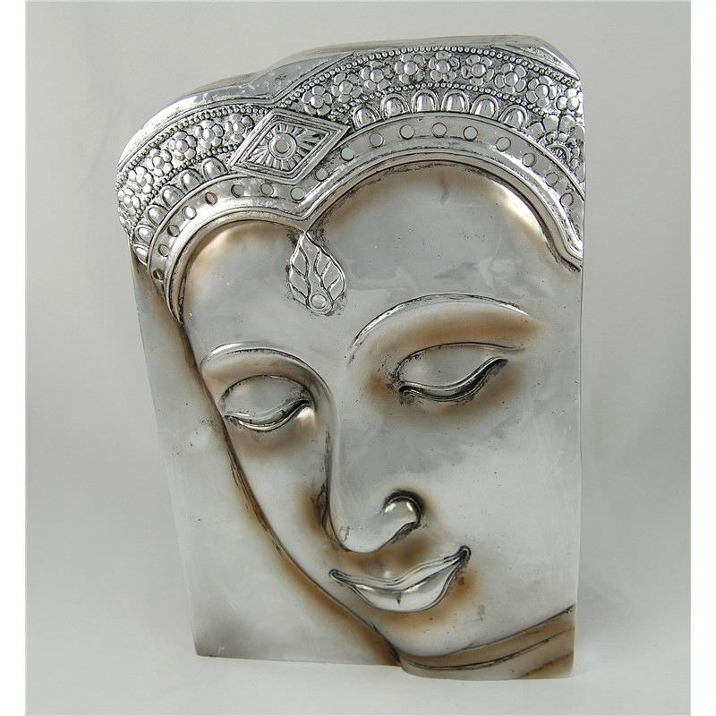 33cm Silver Buddha with Plaque No. 2