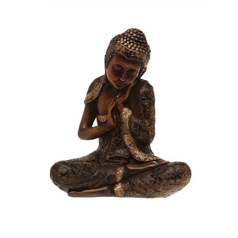 35cm Ornate  Sitting Buddha (wood look)