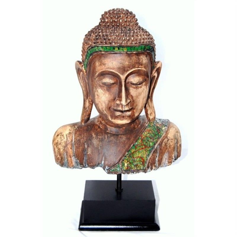 35.5cm Wood-look Buddha Bust w/base