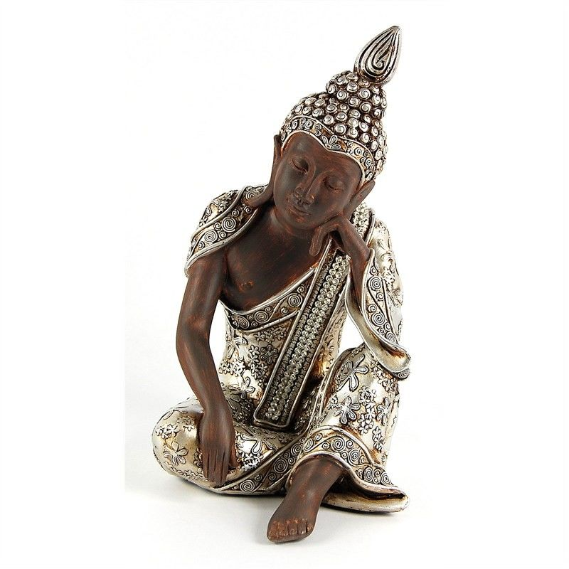 21cm Pensive Thai Buddha with beaded sash