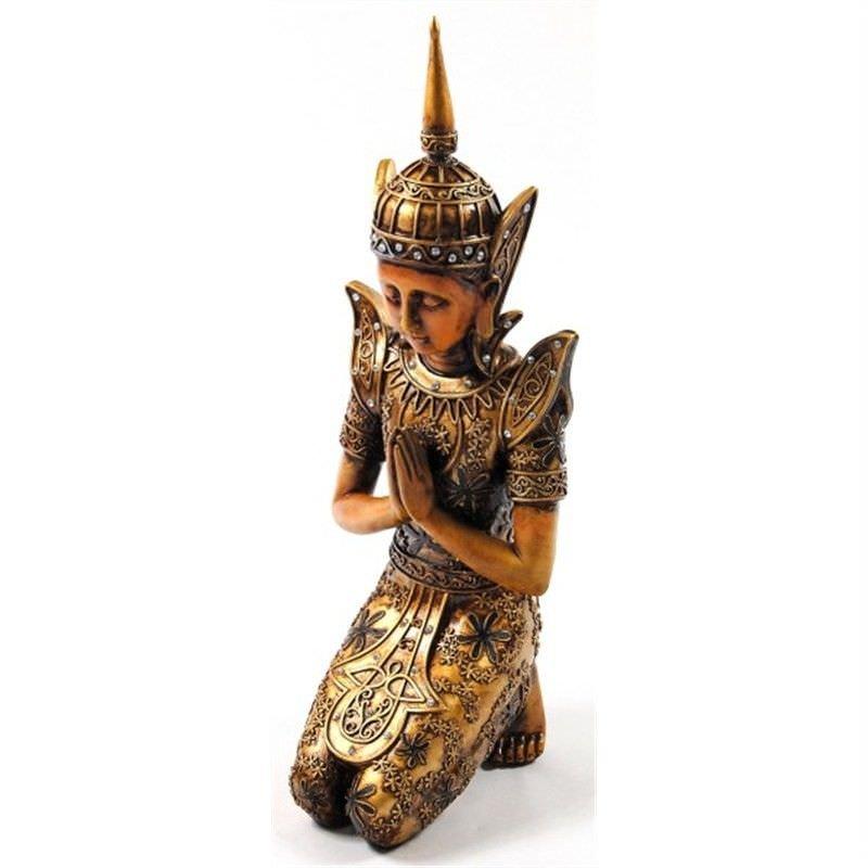 41.2cm Wood look Golden kneeling Buddha