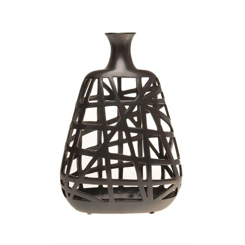 30.5cm Modern Woven-metal-look Ceramic Vase