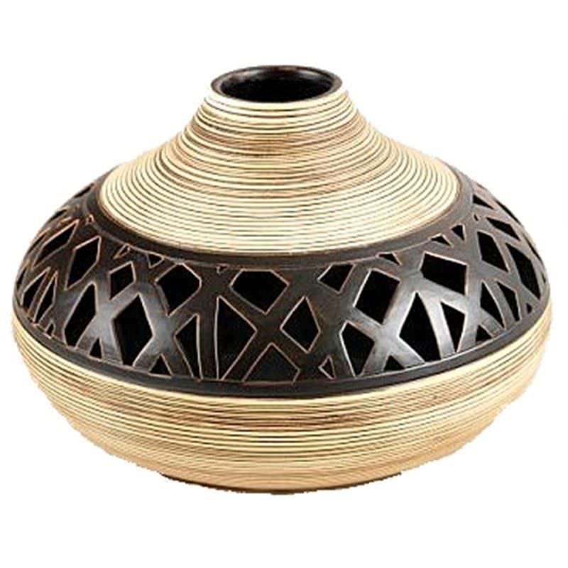27cm Native Earth Squat Vase with lacework