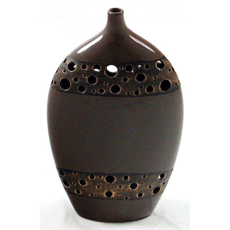 34.5cm Vase with metal-look holes