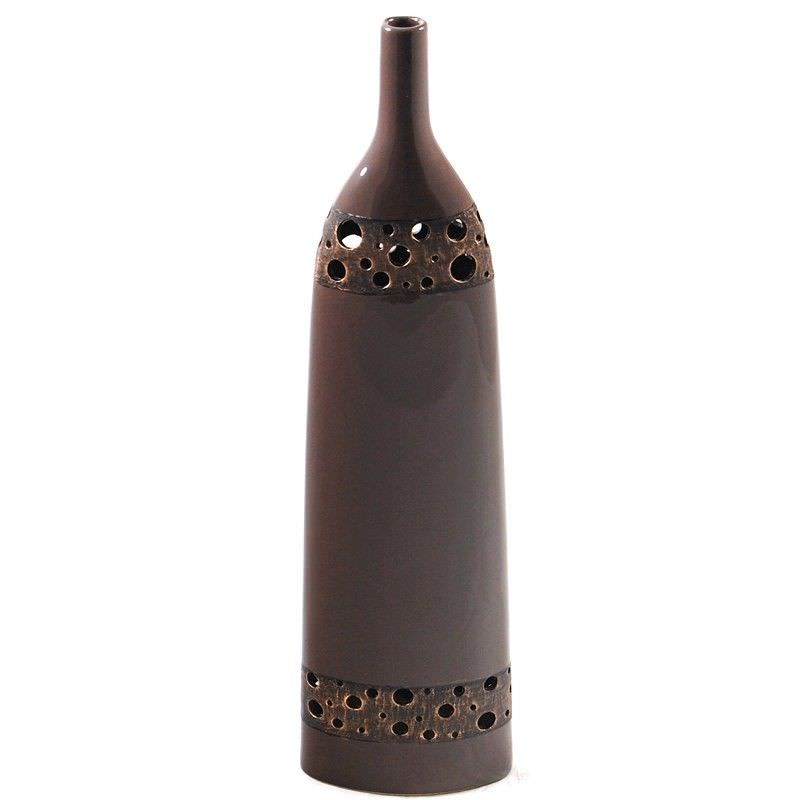 57cm Tall Vase with metal-look holes