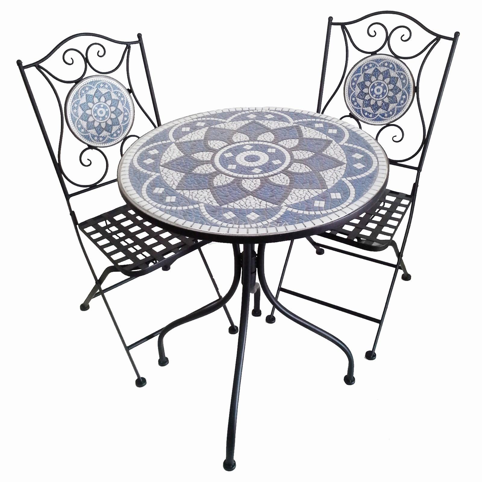 Belford 3 Piece Mosaic Metal Balcony Table & Chair Set