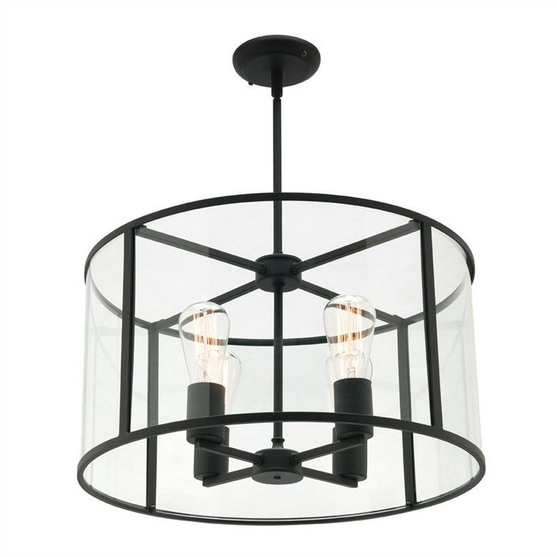 Liverpool Metal and Glass Round Pendant Light, Large
