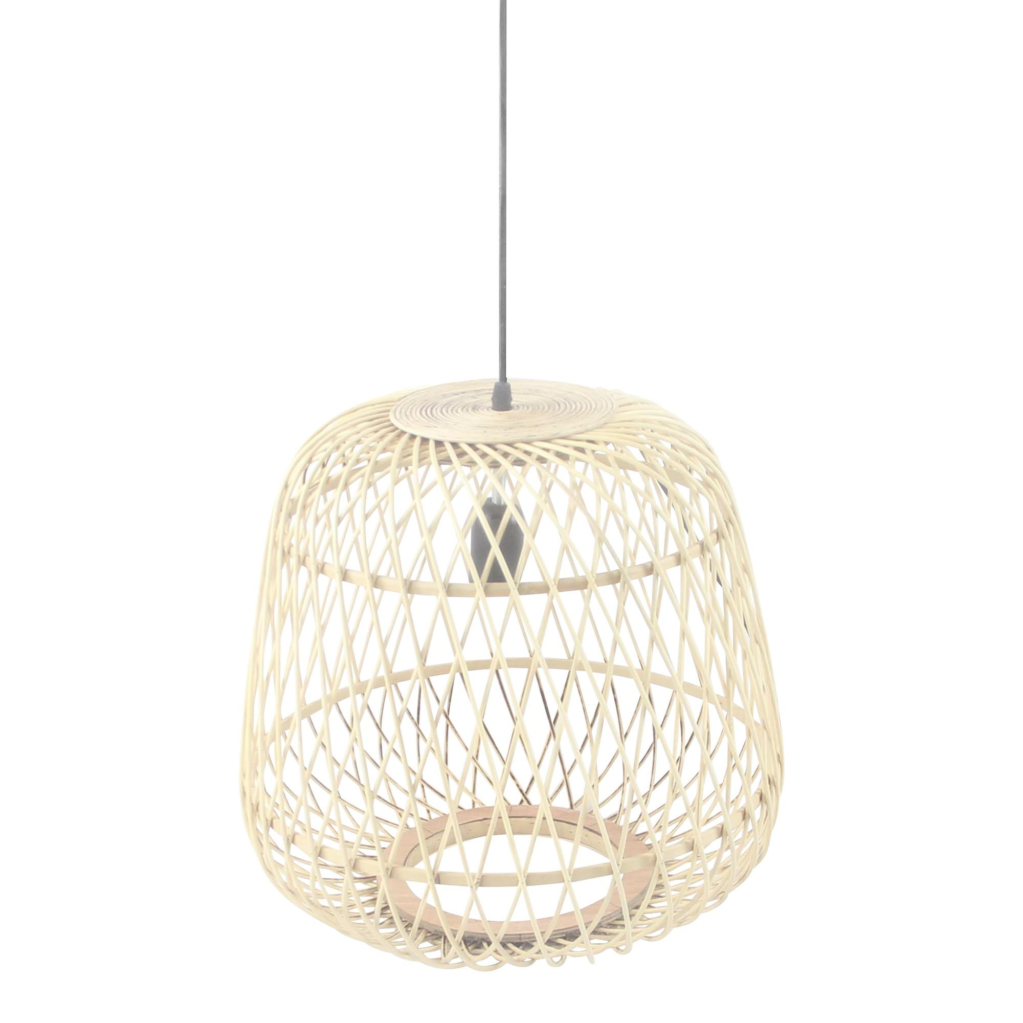Pinehurst Rattan Pendant Light, Drum