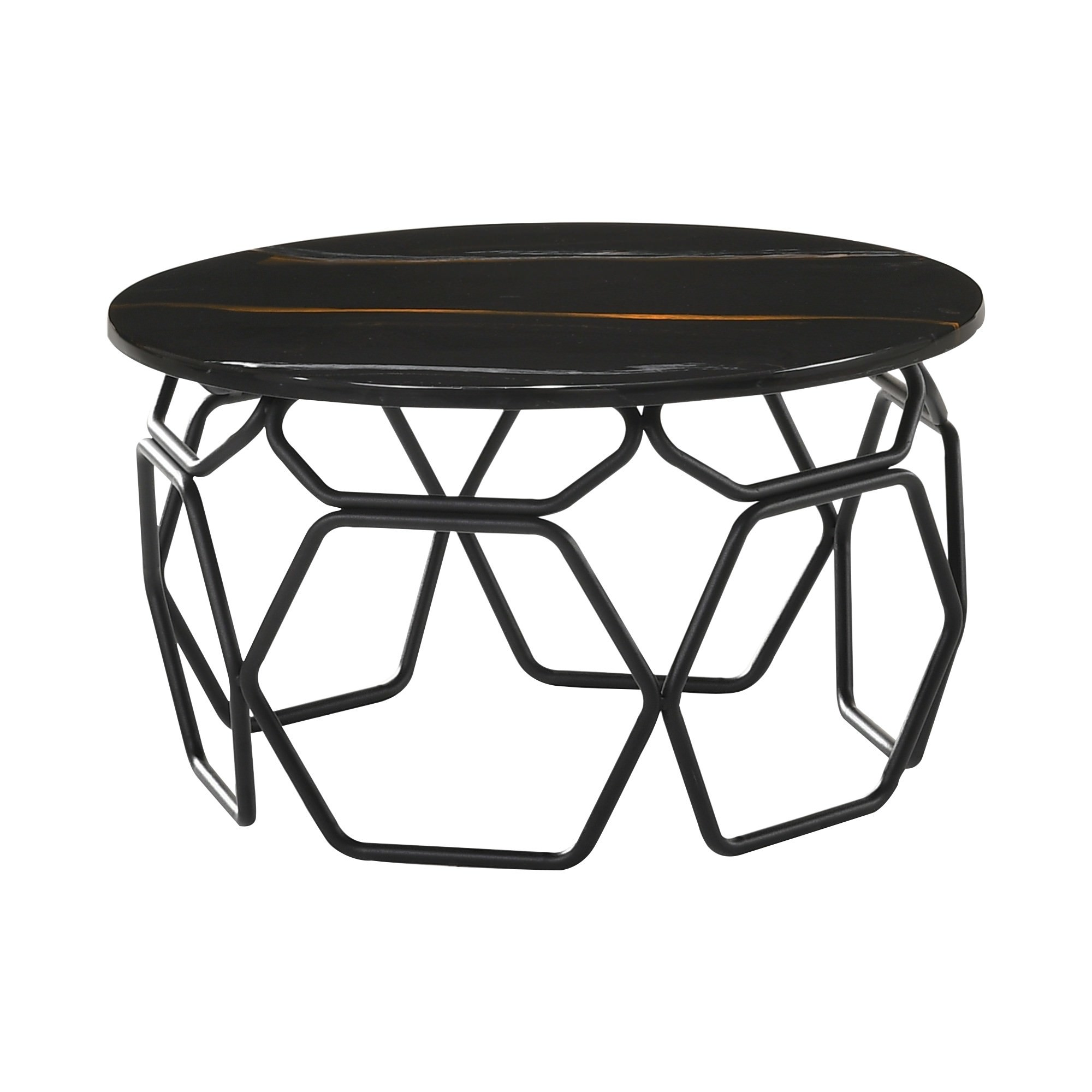 Linza Engineered Marble Topped Metal Round Side Table