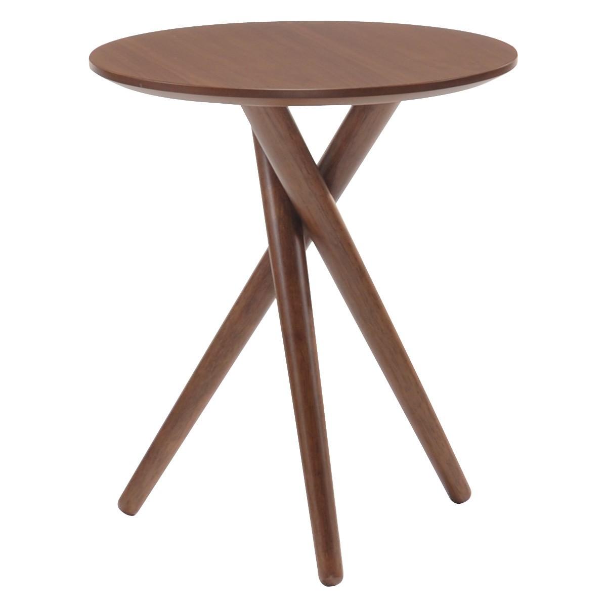 Bodie Wooden Round Side Table, Walnut