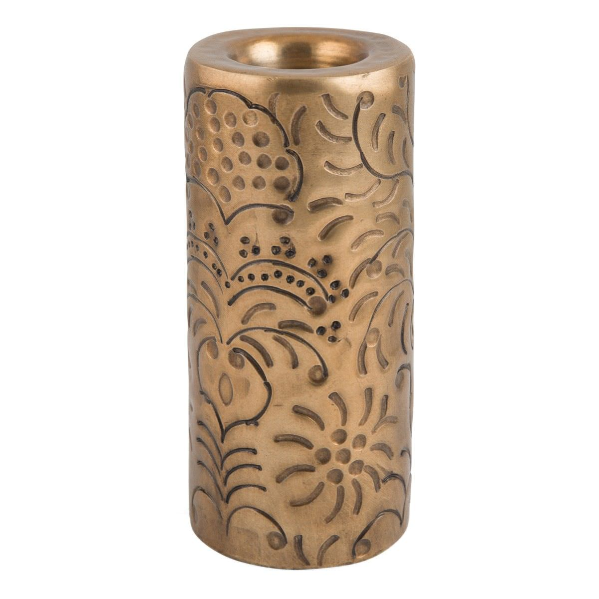 Mireille French Embossed Aluminium Round Pillar Tealight Holder, Large, Antique Gold