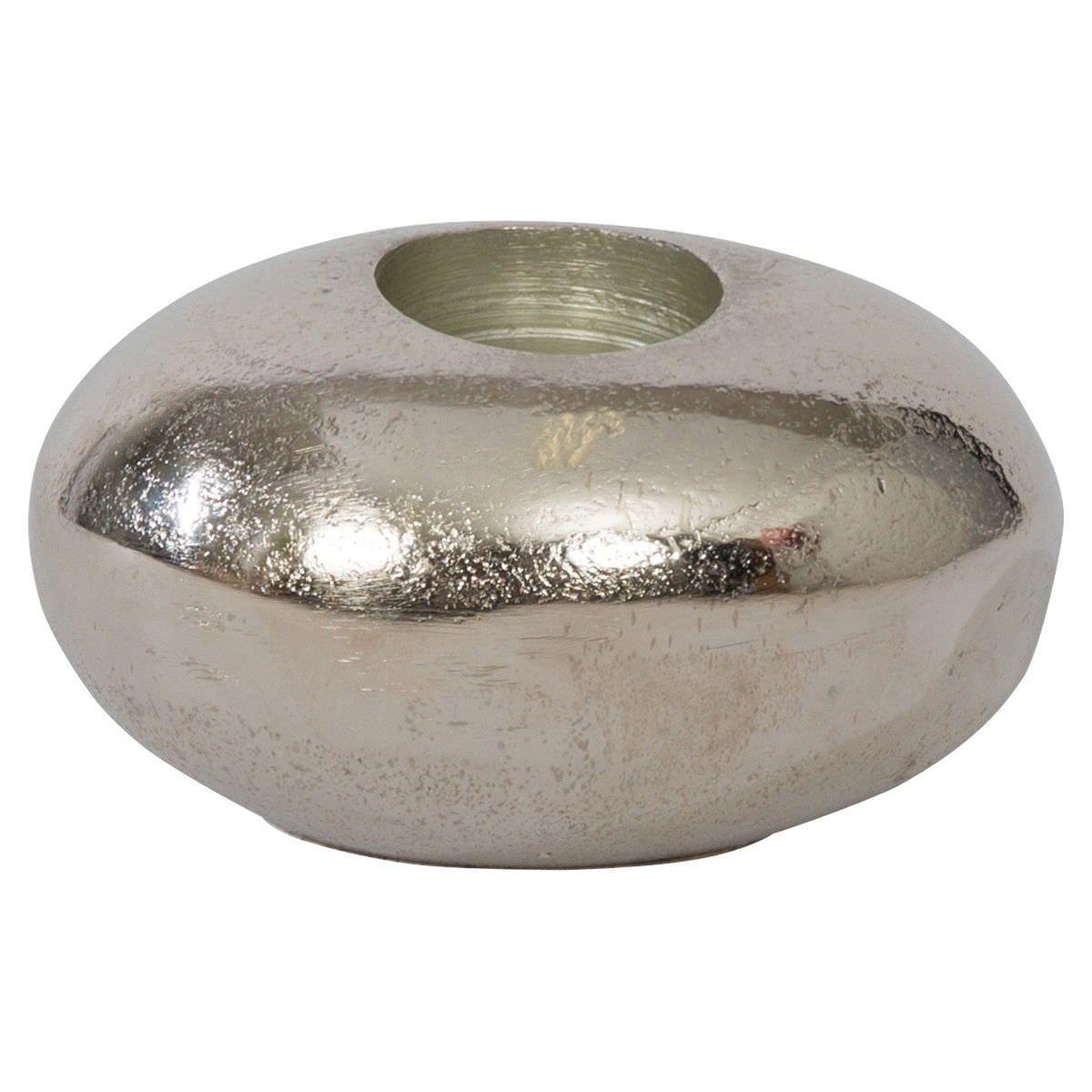 Kiora Aluminium Pebble Tealight Holder, Small, Raw Silver